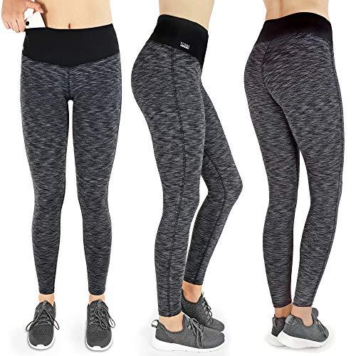 Formbelt® Damen Laufhose mit Tasche lang - Leggins Stretch-Hose Hüfttasche für Smartphone iPhone Handy Schlüssel (schwarz-grau, M)