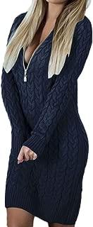 Knitted Zipper Dress, QIQIU Womens Sexy V Neck Sweater Bodycon Long Sleeve Mini Dresses