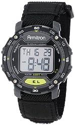 powerful Armitron Sport Unisex 40/8291 BLK Digital Chronograph Watch, Gray Accent and Black Nylon Strap