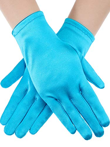 Sumind Short Satin Gloves Wrist Length Gloves Women's Gown Gloves Opera Wedding Banquet Dress Glove for Party Dance (Lake Blue, M Size)