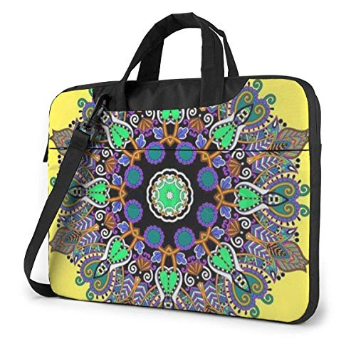Laptop Bag Satchel Tablet,Yellow Floral Ethnic Laptop Shoulder Bag,Notebook Case Sleeve For Business Casual or School With Shoulder Straps & Handle