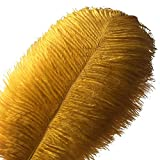 Sowder 10pcs Ostrich Feathers 12-14inch(30-35cm) for Home Wedding Decoration(Golden)