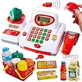 Buyger Grande Caja Registradora Juguetes con Luces y Sonido Supermercado Electrónica Escáner Micrófono Comida Juguetes Educativos Juego de rol para Niños Niña