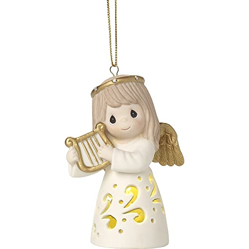 Precious Moments Make Sweet Melody LED Lighted Angel With Harp Bisque  Porcelain Ornament 171026 - Porcelain Bisque Christmas Ornaments: Amazon.com