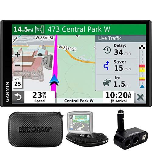 Garmin 010-N2038-02 Drivesmart 65T GPS Navigator – (Renewed) Bundle with Dual DC12V/24V Electronic Multifunction Car Socket, Universal Weighted & Deco Gear Hard EVA Case with Zipper
