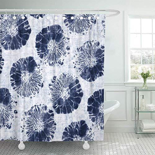 JOOCAR Design Duschvorhang, marineblau, abstraktes Shibori-Blumenmuster, gefärbt in melierten Schattierungen von Indigo & Weißblau, wasserdichter Stoff, Badezimmer-Deko-Set mit Haken