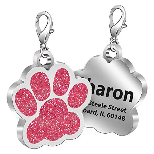 Fibernail Personalized Paw Dog Name Tag, Custom Engraved Pet ID Tags, Cat Tags, Sparkling Glitter Paw Shape Dog ID tag for Cats Little Dogs(Pink-M)