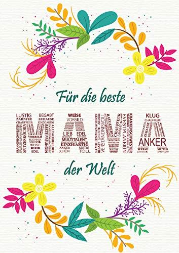 Liebevolle Glückwunschkarte Geschenkkarte 'Beste Mama der Welt' Geschenk für Mama zum Geburtstag Muttertag Weihnachten (Blumen 2)