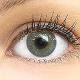 GLAMLENS lentillas de color -gris Jasmine Dark Grey + contenedor. 1 par (2 piezas) - 90 Días - Sin Graduación - 0.00 dioptrías - blandos - Lentes de contacto grises de hidrogel de silicona