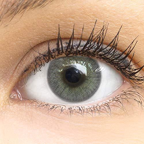 GLAMLENS Jasmine Dark Gray Grau + Behälter | Sehr stark deckende natürliche graue Kontaktlinsen farbig | farbige Monatslinsen aus Silikon Hydrogel | 1 Paar (2 Stück) | DIA 14.00 | ohne Stärke