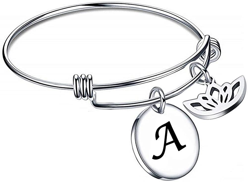 ShinyJewelry Initial Letter Adjustable Stainless Steel Lotus Flower Alphabet Wire Bangle Bracelet