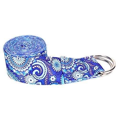 FOLOSAFENAR Cinturón elástico de algodón Grueso y Resistente para Yoga, para Yoga(Printed Stretch Band Blue)