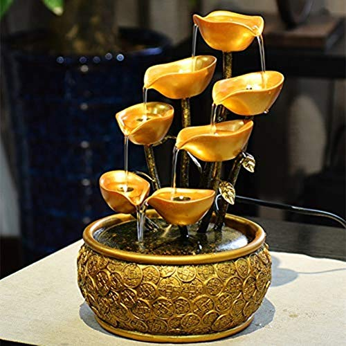 AINIYF Sculptures Tabletop Fountain,Desktop Decorations Tabletop Fountain with Light Cow Living Room Water Decoration Resin Ornaments Home Decoration New House Gifts (Color : A, Size : 11.8inch)