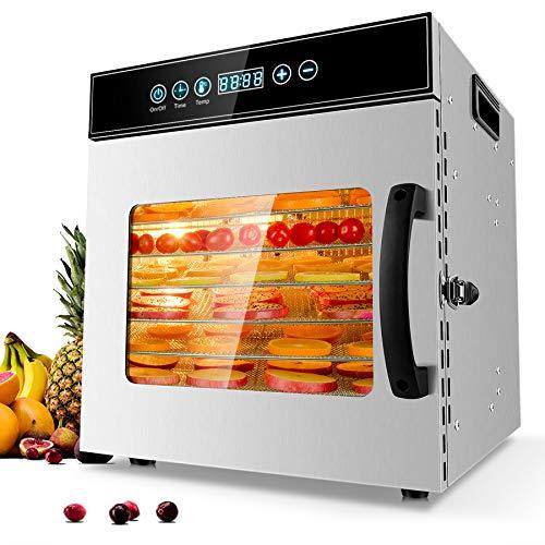 Kwasyo Deshidratador de Alimentos Acero Inoxidable Libre de BPA, Deshidratadora de Frutas y Verduras con Pantalla LCD, Temperatura 30-90℃, Temporizador, Hierbas, Nueces, Yogurt, 8 Bandejas, 400W