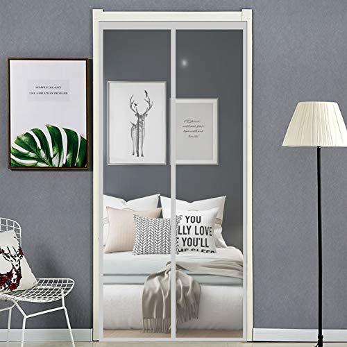DANWU Fliegenvorhang 90x230cm Insektenschutz Fliegengitter Balkontür Vorhang Ohne Bohren Einfach zu Montieren für Terrassentür, Kellertür und Balkontür, Wohnzimmer, Grau