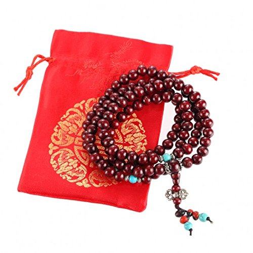 lachineuse Bracelet - Collier Mala Bouddhiste - 108 Perles en Bois de Jujubier - Pochette en Satin Offerte