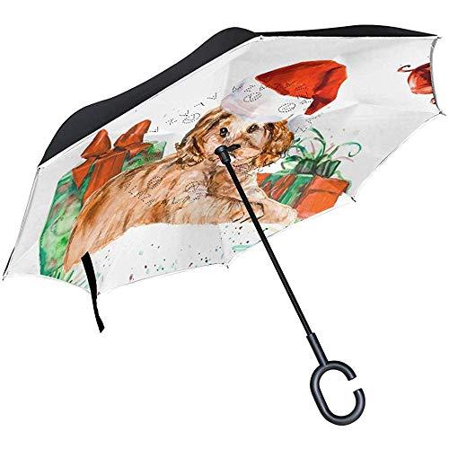Merle House Frohe Weihnachten Hund Weihnachtsmütze Inverted Umbrella Winddicht Anti-UV, Winter Schneeflocke Poppy Reverse Umbrellas Gerade C-Griff Leichtgewicht