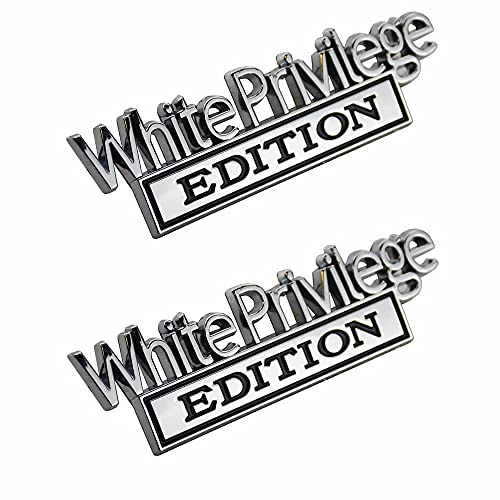 2pcs Metal White Privilege Edition Emblem Badge 3D Raised & Strong Adhesive Car Decals Suitable for All Vehicles
