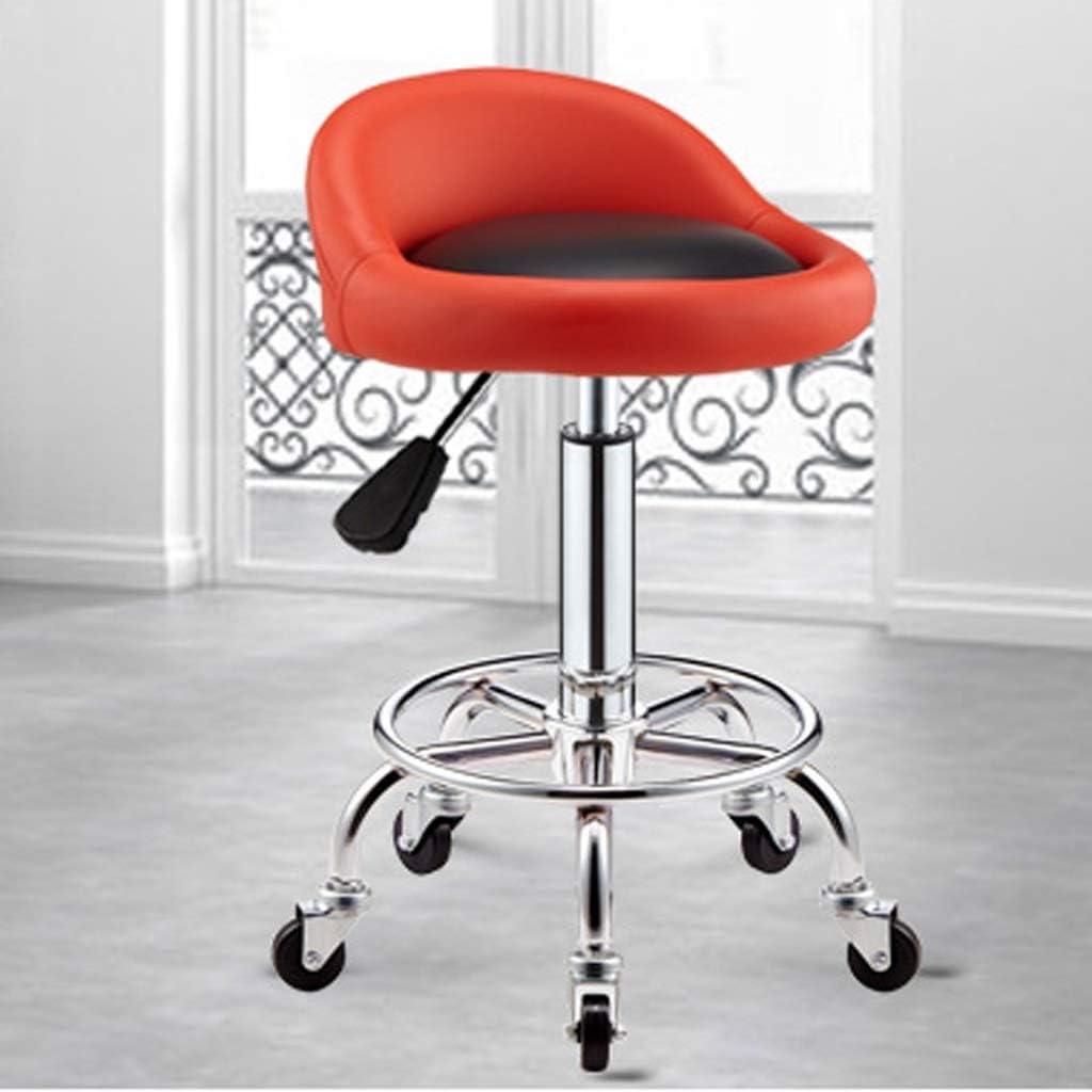 ZJ Raffermir Coiffure Tabouret, Tabouret Pulley spéciaux for Les Salons de beauté, Salons de Coiffure Coiffure, manucure, Coupe Rotating Tabouret Cheveux Mode (Color : Black-B) Red