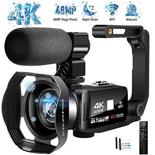 4K Camcorder Video Camera Ultra HD Wi-Fi Vlogging Camera 48.0MP 16X Digital Zoom Camcorders with IR Night Vision &Microphone Digital Camera 3.0 inch Touch Screen with Remote Control