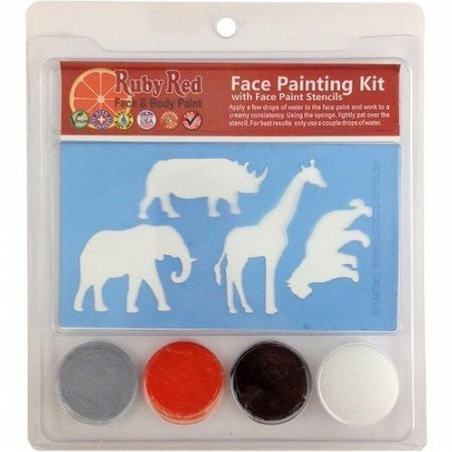 Ruby Red Paint Face Paint, 2ML X 3 Colors - Zoo Stencil Set