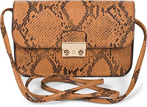 styleBREAKER Dames Crossbody Clutch in snake look, schoudertas, schoudertas, tas 02012296, Farbe:Cognac