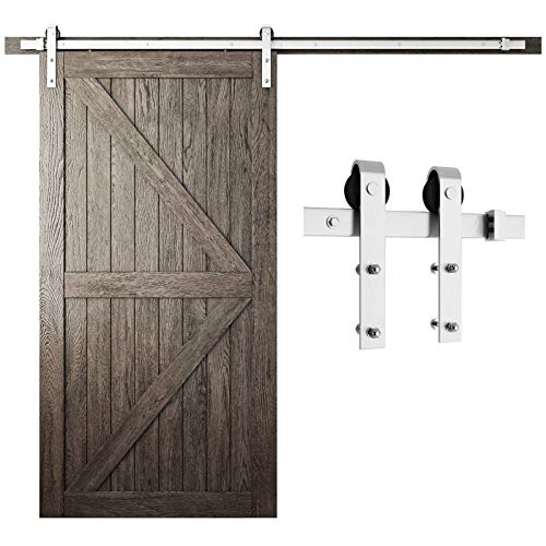 "SMARTSTANDARD 8 Feet Stainless Steel Sliding Barn Door Hardware Kit - Heavy Duty Sliding Door Track Stainless - Smoothly and Quietly - Easy to Install - Fit 42""-48"" Wide Door Panel (J Shape Hanger)"
