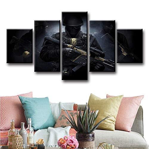 Angle&H Modern Dekorativ Bild Poster 5 Stück Game Tom Clancy's Rainbow Six Siege Malerei Spezialeinheiten Segeltuch Kunst Malerei Wohnkultur,B(Frame),S