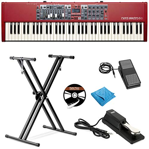 Nord Electro 6D 73-Key Stage Piano Bundle with Adjustable Stand, Expression Pedal, Sustain Pedal, Austin Bazaar Instructional DVD, and Polishing Cloth