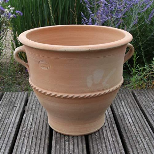 Céramique de Crète | grand pot de fleurs en terre cuite avec poignée pour l'extérieur | fait main et résistant au gel | Pot de fleur en céramique pour décoration de jardin balcon terrasse, rose 40 cm