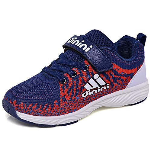 Kids Tennis Running Shoes Girls Boys Knit Lightweight Sneakers Mesh Athletic Walking Shoes Strap Sport Outdoor Trail Casual Sneaker?Toddler/Little Kid/Big Kid Dark Blue