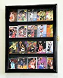 20 Sport Cards Collectible Card Display Case Cabinet Holder Wall Rack 98% UV, Lockable -Black