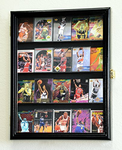 20 Sport Cards Collectible Card Display Case Cabinet Holder Wall Rack 98% UV, Lockable