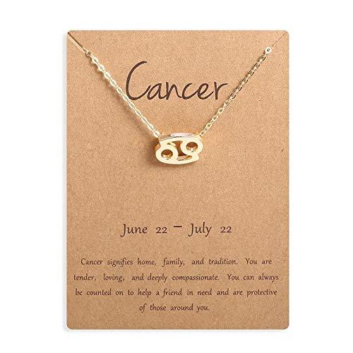 Collana da donna con segno zodiacale, in oro 18 K, con ciondolo a forma di stella, 45 cm, idea regalo e Oro giallo, colore: Collana con segno zodiacale in oro., cod. 1