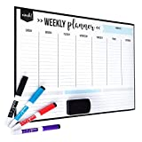 Magnetic Dry Erase Weekly Calendar for Fridge: with Stain Resistant Technology - 17x12' - 4 Fine Tip Markers and Large Eraser with Magnets - Whiteboard Organizer Planner: Refrigerator White Board