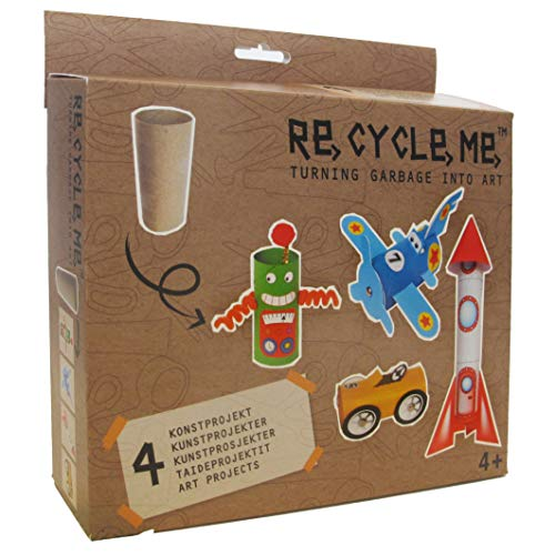 Buzzy ReCycleMe Project Box, Turn Garbage into Art, Eco-Friendly Project for Kids, Learn How to Recycle and Be Sustainable, Toilet Paper Roll – Airplane, Car, Robot, Rocket