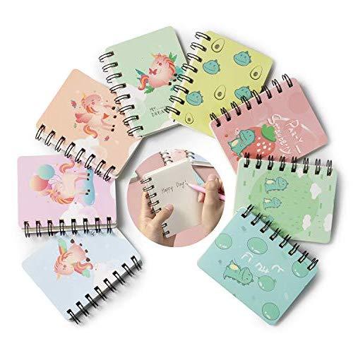 Portatile Mini Taccuino Notebook,Comius Sharp 8 pezzi Taccuino a fogli mobili bloc-notes, con Cute Cartoon Pattern Piccolo Taccuino Tascabile,Giornale per taccuino per forniture per ufficio