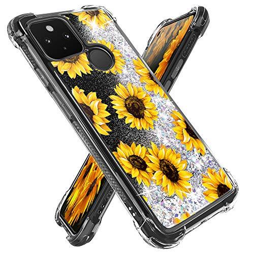 Miss Arts for Google Pixel 4A 5G Case,Pixel 4A 5G Glitter Case, Girls Women Cute Bling Flowing Liquid Holographic Holo Glitter Case Reinforced Corners Shock-Absorption Cover for Pixel 4A 5G -Sunflower -  ZZ-110152734