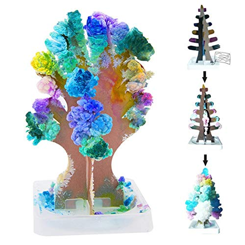 LSSJJ Magic Christmas Tree Crystal Growing Activity Set, Flowering Toy Bonsai Tree Christmas Crystal Paper Decoration for Kids Gift Crafts