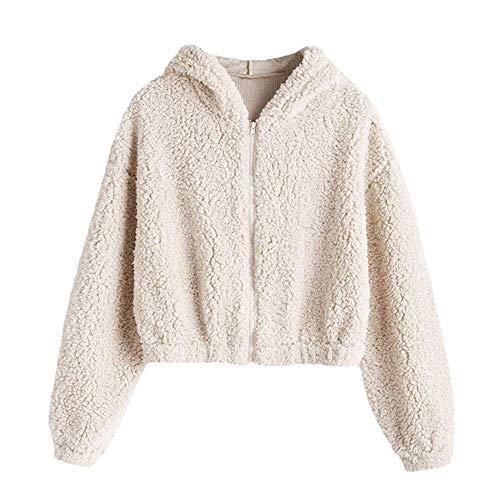 ZAFUL Women's Faux Fur Fuzzy Coat Full Zip Drop Shoulder Jacket Cropped Sweatshirts Hooded-Milk White S