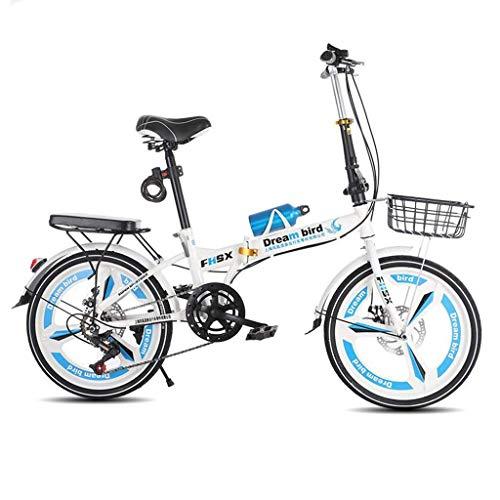 ZXYY Klappradbremse Klapprad Damenrad 6-Gang 20-Zoll-City-Fahrrad mit Rädern (Farbe: BLAU Größe: 150 * 30 * 100CM)