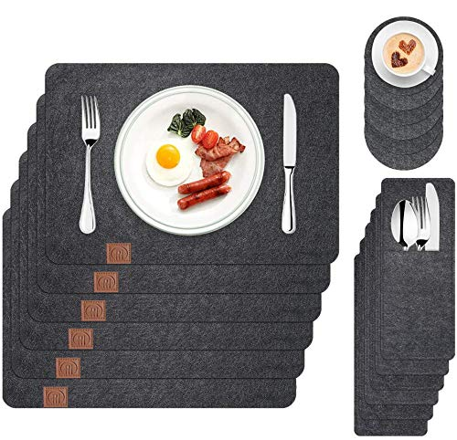 Boic Filz Tischset mit Glas Untersetzer Bestecktaschen 6 Set, 45×35cm Vintage Platzset Abwischbar Abwaschbar Tischläufer, Platzdeckchen Tischunterlage Tischuntersetzer Filzuntersetzer, Schwarz
