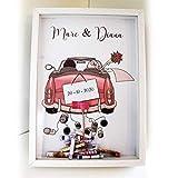 Didart Handmade Cuadro para bodas para regalar dinero. Personalizado. Modelo coche rosa. Varios modelos a elegir. Tamaño...