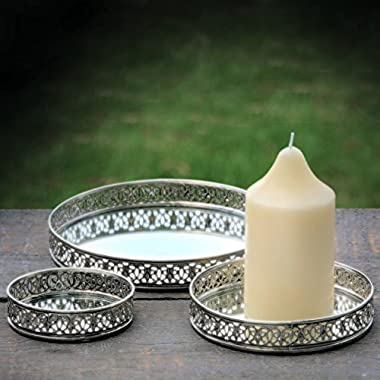 Whole House Worlds The Farmer's Market Table Top Candle Trays, Set of 3, Iron Lattice Edges, Inset Mirror Floor, 8, 6, 4 Inches Diameter, Padded Bottoms, By