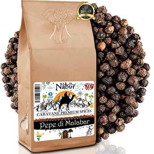 Nabür - Poivre noir de Malabar 200gr ⭐ Gourmet de Malabar - Poivre d'Inde Authentique, Fruité, Notes fumés…