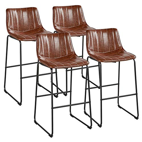 Yaheetech Bar Stools 30'' Height Fashionable Pub Stool Chairs PU Leather Chairs with Backrest Furnished Settle Industrial Armless Stools Home Kitchen Bar Metal Legs Set of 4, Brown