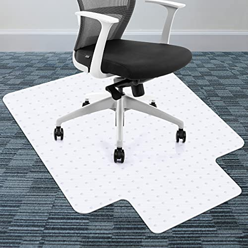 """Chair Mats for Carpeted Floors, Premium Material 36"""" x 48 White Chair Mat with Lip, Desk Chair Mat Best for Rolling Chair and Computer Desk for Office& Home Flat Without Curling"""