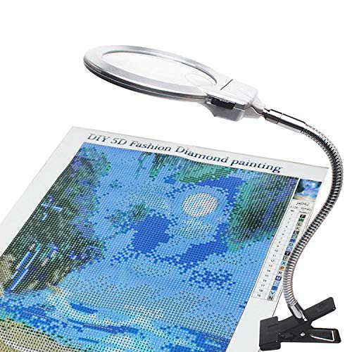 ARTDOT 5D Diamond Painting Magnifying Tools LED Light with Magnifiers for Diamond Painting, 4X & 6X Magnifier LED Light with Clip and Flexible Neck