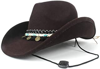 AU-KANGSHUAI Pop Jazz Hat Adult Fedora Hat Unisex Men Womn Wool Western Cowboy Hat With Band Size 56-58CM
