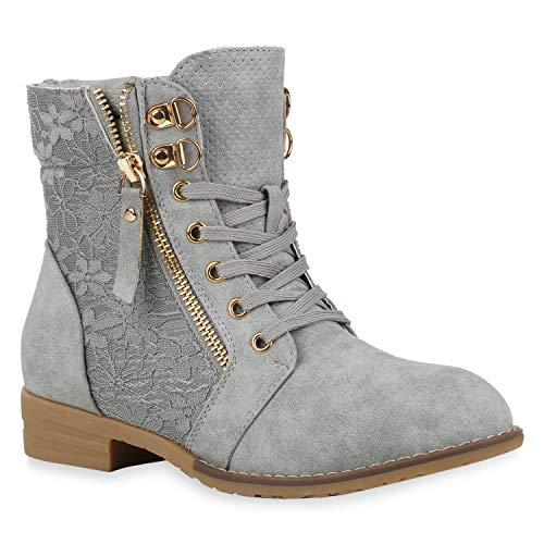 Stylische Damen Stiefeletten Worker Boots Knöchelhohe Stiefel Gesteppt Damen Leder-Optik Zipper Ketten Schuhe 134635 Hellgrau 36 Flandell